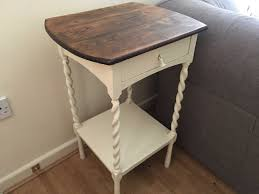 painted antique oak side table with barleytwist legs laura ashley creamware vinterior