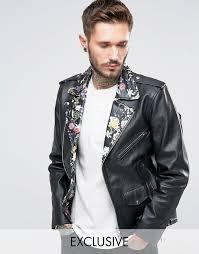 reclaimed vintage reclaimed vintage leather biker jacket with fl collar