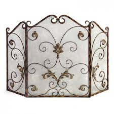 cool wrought iron fireplace screen design with metal scroll ornament