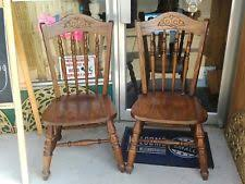 set of 2 solid oak pressed back virginia house dining room chairs