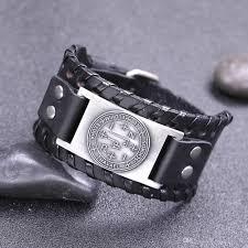 my shape black wide leather skyrim wicca seal of solomon talisma antique silver bronze copper charm pentagram magic amulet jewelry rose gold charm bracelet