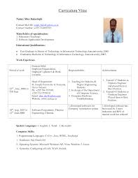 Awesome Collection Of Lecturer Resume Format For Freshers About