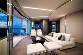 extraordinary black and white living room with mies van der rohe furniture and an extraordinary view amazing living room