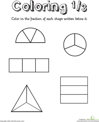 Coloring Shapes: The Fraction 1/3 | Worksheet | Education.comFirst Grade Fractions Worksheets: Coloring Shapes: The Fraction 1/3