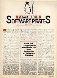 article about the menace of the software pirates from  article about the menace of the software pirates from 1985 techdirt