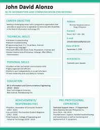 Fascinating Resume Format Examples Templates For Freshers Template