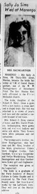 The Gazette (Cedar Rapids IA) 12/4/1966 Sun pg 73 Sally Jo Sims Daniel  Baumgartner wed - Newspapers.com