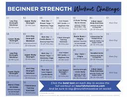 Full Gym Workout Chart Fitness Challenge 30 Day Beginner Workout Plan Nourish