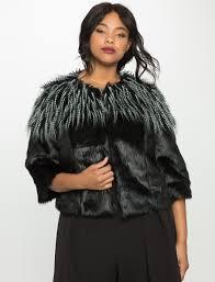 studio mixed faux fur jacket