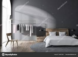 Skandinavischen Stil Schlafzimmer Mit Grauen Wänden Einen Holzboden