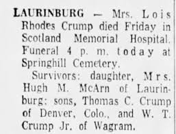 Obituary for Lois Rhodes Crump - Newspapers.com