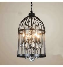 vintage chandelier with black birdcage amary