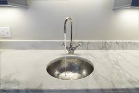 image of hammered nickel bar sink with polished nickel faucet o with wet bar sink