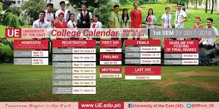 College Calendar For 1st Sem Sy 2017 2018