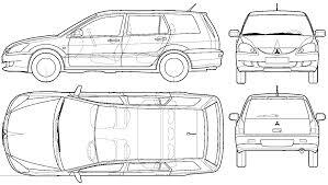 2003 Mitsubishi Lancer Wagon blueprints free - Outlines