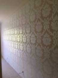 brown flock embossed wallpaper ...