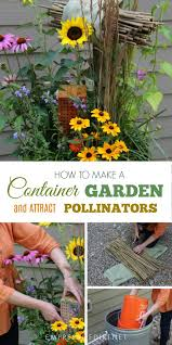 pollinator garden in a classic trashcan from the book container gardening complete by jessica walliser