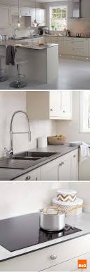 Super slim soft grey slate kitchen worktops teamed with classic cream  cabinets provide a sophisticated edge