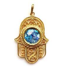 14k gold hamsa pendant with ancient roman glass zoom image