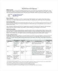 Service Level Agreement Template New Support Sla Template Help Desk Service Level Agreement Network