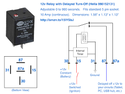 12v delayed turn off or turn off howto in a standard automotive relay socket pigtail but the pins don t map out the same i e don t try and just replace an existing relay in your car