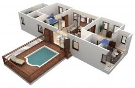 Fascinating Architecture Simple 2 Bedroom House Building Plan With Small  Pool Simple Home Plans 2 Bedrooms 3d Pics