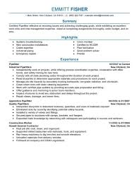 Journeyman Pipefitter Resume Construction Professional Best