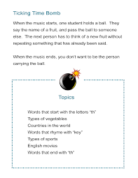 Vocab Building Worksheets Pass The Ball Vocabulary Brainstorming Countdown All Esl