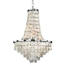 glow lighting bayside 9 light capiz shell and chrome chandelier