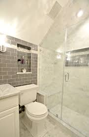 Bathroom Tile Ceiling Bathroom Remodel Features Glass Tile Wall And Carrara Marble