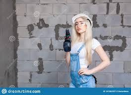 Designer Overalls Denim Girl Designer Foreman Blonde In Construction Helmet