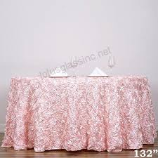 efavormart 132 round table cover blush whole grandiose rosette 3d satin tablecloth for wedding party event