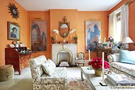 ideas for painting living room bright orange creative artistic style with modern decorate simple pattern sofa