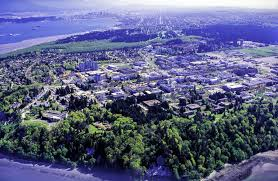 global aerial view of the university of british columbia buildings and cus