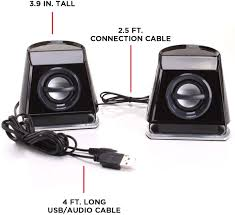 Buy GOgroove 2MX LED Computer Speakers with Passive Woofer, Green Glowing  Lights and 2.0 Stereo Sound - Wired 3.5mm Audio Input Connection, USB  Powered for PC, Desktop and Laptop Computers Online in