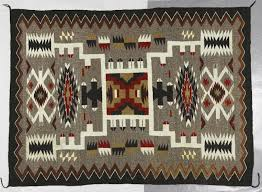 diné navajo storm pattern rug ca 1940 1950 handspun native wool