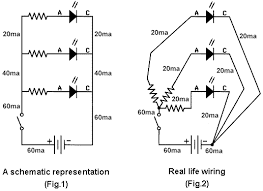 led circuits shown above are two examples of the same circuit figure 1 on the left is a schematic representation of three leds connected in parallel to a battery