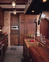 Dark Oak Wooden Cabinets Create Rustic Look Elegant Wooden Oak