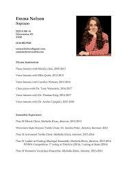 Resume — Emma Nelson - Vocalist
