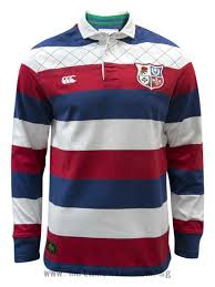 canterbury of new zealand british lions long sleeve classic rugby shirt blue red