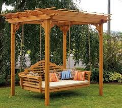 stylish modern wooden swing pergola design with double arms swing wooden garden swing bench