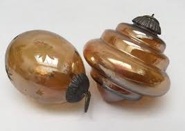 Kugel Pair Of Amber Ornaments Egg W/Etched Stars Beehive/Top Shape ...