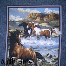 Quilt Girls - Approaching Storm Horse Fabric Panel to sew ... & Rhapsody West Horse Quilt Panel to sew. This print shows an images of horses  along a river. Fabric by Persis Clayton Weirs for Springs Creative. Adamdwight.com