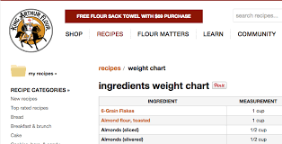 King Arthur Flour Ingredient Chart Bookmark This King Arthur Flour Baking Conversion Chart