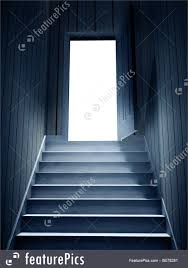 Steps Leading From A Dark Basement To Open Door Stock Illustration