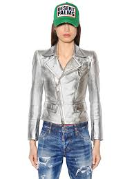 dsquared2 metallic nappa leather jacket silver ota10 women clothing dsquared dress dsquared