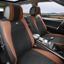 car suv truck pu leather seat cushion covers 5 seat full set seats black brown with