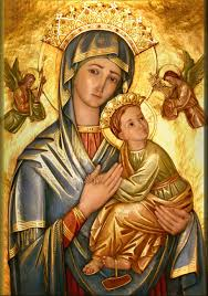 the icon of our lady of perpetual help is an authentic expression of byzantine art from ancient times the gold background represents the kingdom of and