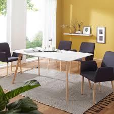 Finebuy Esstisch Mit 4 Stühlen Sv52123 Holz Esszimmertisch Skandinavisch 180 Cm Holztisch Weiß Für Esszimmer Mit Esszimmerstühlen Design