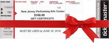 Gift Certificates Njpac